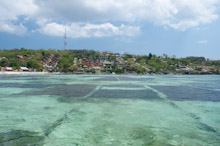 BAL121009J0004  Seaweed Farm, with island accommodation in background, Nusa Lembongan, Bali, Indonesia