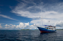 HAL010610A0064  Dive boat at sea, Halmahera, Maluku Islands, Indonesia