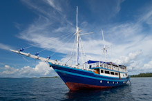 HAL010610A0066  Dive boat at sea, Halmahera, Maluku Islands, Indonesia