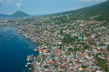 HAL110610A0004  Aerial veiw of town and port, Ternate, Halmahera, Maluku Islands, Indonesia