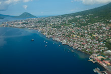 HAL110610A0005  Aerial veiw of town and port, Ternate, Halmahera, Maluku Islands, Indonesia